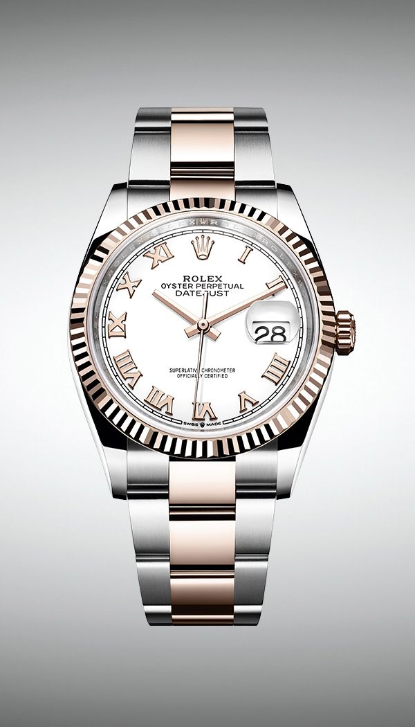 fc7bc663948 The new Rolex Datejust 36 features a white dial with 18ct pink gold Roman  numerals and a fluted bezel.