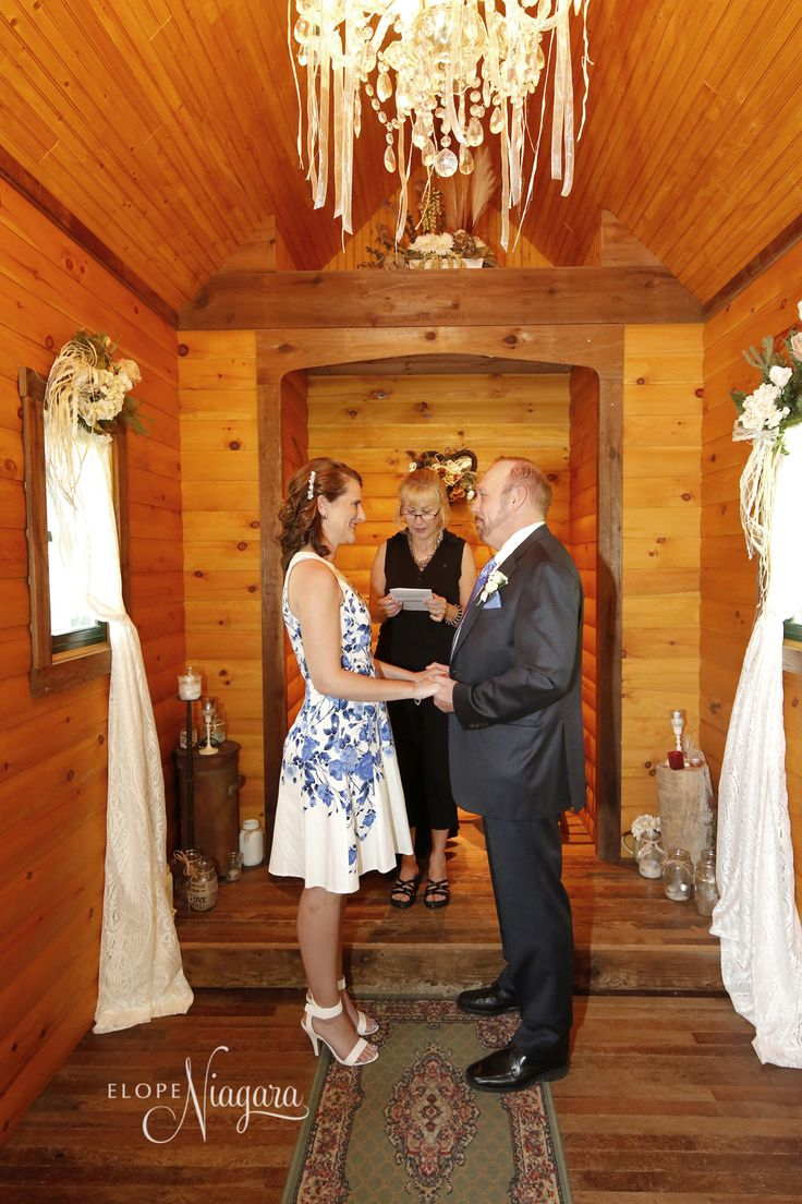 Inside our cozy and charming rustic little log wedding chapel perfect for an elopement wedding