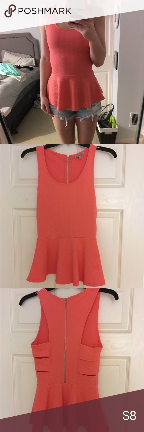 CHARLOTTE RUSSE Peplum Top Charlotte Ruse Peplum Tank ▪️Bright Coral Color ▪️Textured Fabric ▪️Bandage Back Detail/Subtle Cutouts ▪️Platinum Metal Zipper ▪️Brand New w Tags ▪️Looks great with jean shorts or pants ▪️Very figure flattering/bodycon fit ▪️Fits true to size (I'm a 34B/ 124 Lbs) Charlotte Russe Tops Tank Tops