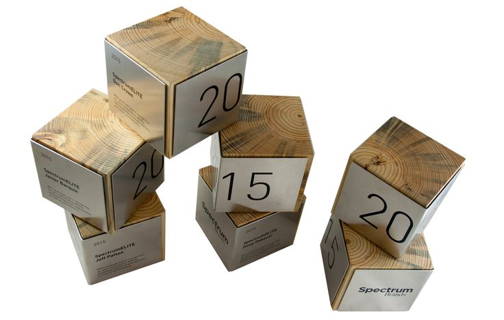 Block awards - an industrial mix of wood and metal