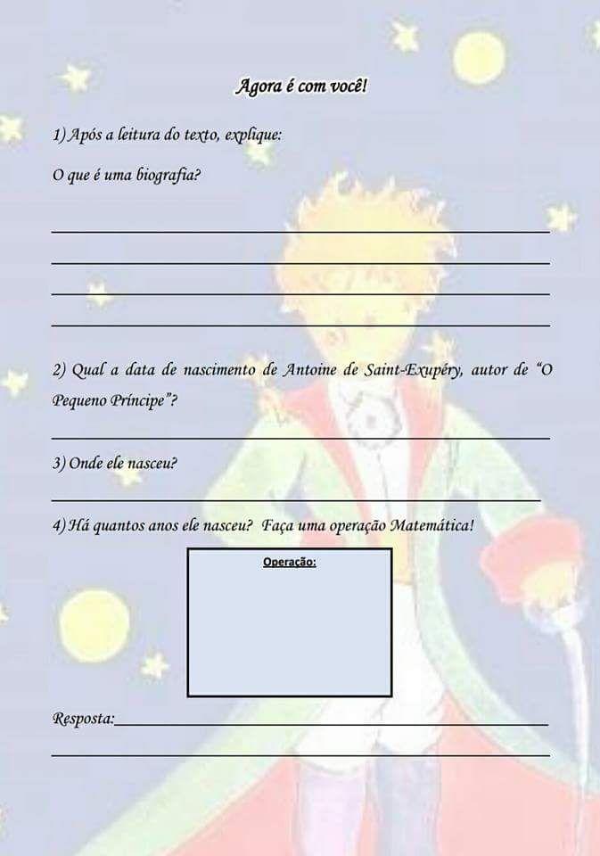 Portal Escola Sequencia Didatica O Pequeno Principe Pequeno