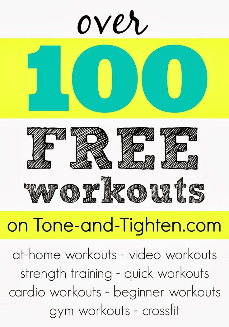 Over 100 FREE workouts on Tone-and-Tighten.com - at home workouts, video workouts, Zumba, strength training, beginning workouts, gym workouts, cross fit . . . something for everyone!