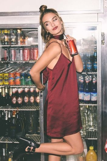 The Tarry Satin slip dress in maroon red is simply SEXY!!!! Featuring a basic…