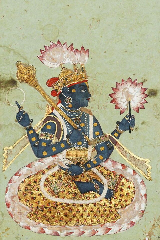 A Seated Figure of the Four-Armed Vishnu. Opaque pigments heightened with gold on paper, Indargarh, North India, early 18th century