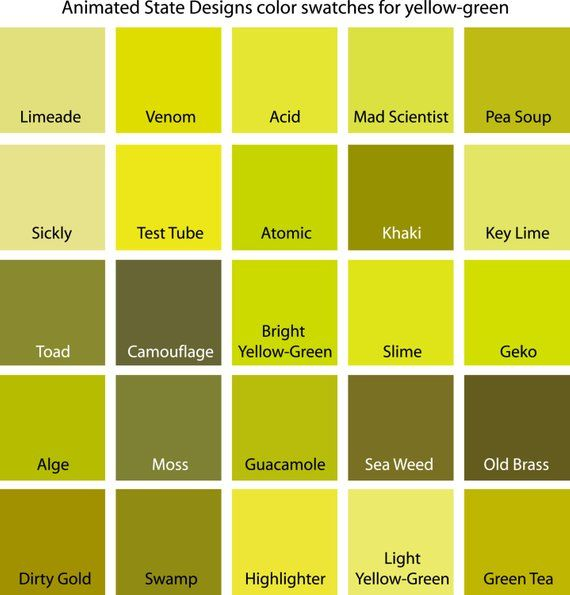 Color Swatches For Cyan Yellow Green And In