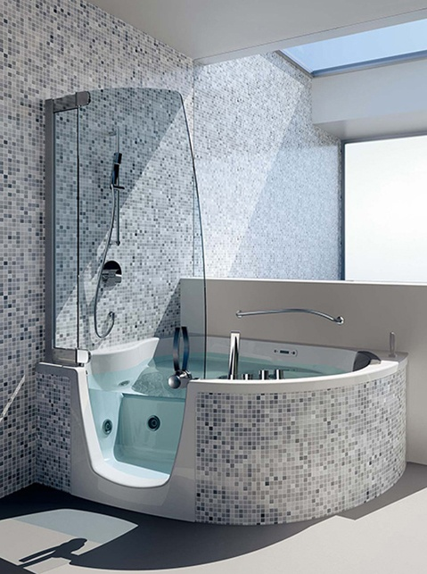 small shower and separate garden tub or something like this