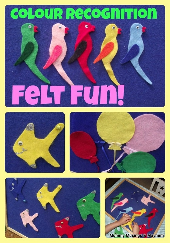3 Easy colour recognition and maths concept felt games for toddlers and beyond!