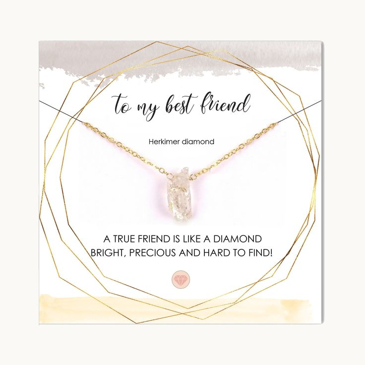 Gift for Best Friend Female with Card / Raw Herkimer Diamond Necklace / Best Friend Necklace / Friendship Necklace / Soul Sister Gift