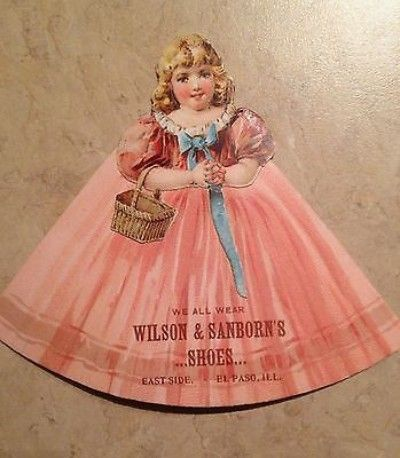 ANTIQUE Victorian Die Cut Advertising Paper Doll SHOE Trade Card El Paso Texas (03/13/2014)