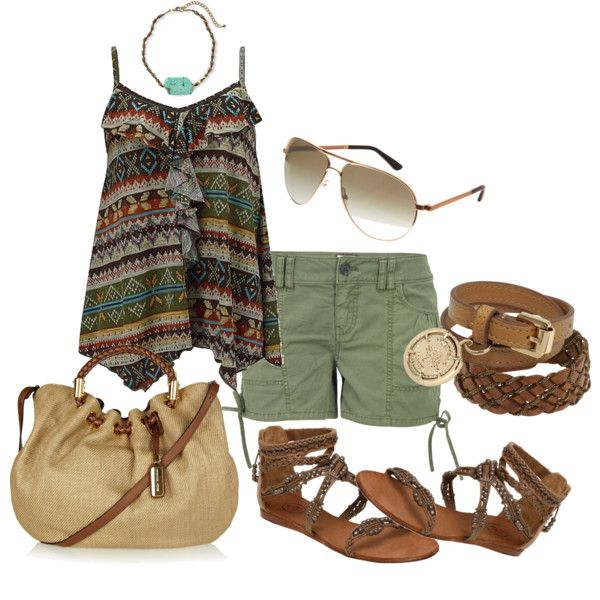 aztec print top, created by bonnaroosky on PolyvoreSummer Looks, Summer Outfit, Style, Clothing, Shorts, Cute Outfit, Fashion Worship, Tribal Prints, Aztec Prints Tops