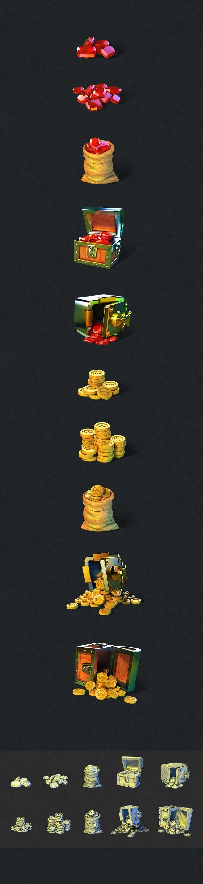 [3D图标设计UI-金币和宝石]                                                                                                                                                      More