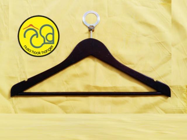 Jual dan Produksi Hanger Kayu Palng Kayu Ring Anti Theft Untuk Hotel