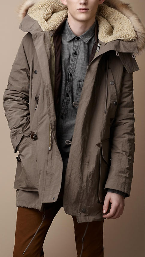 Burberry Brit Down-Filled Fur Trim Parka