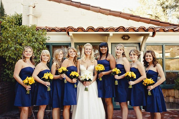 Davids Bridal marine - this is the color dress I want for bridesmaids. And have them carry sunflowers :): Yellow Flowers, Colors Dresses, Bridesmaids Groomsmen, Carrie Sunflowers, The Dress, Bridal Marine, Blue Bridesmaid Dresses, Blue Bridesmaids