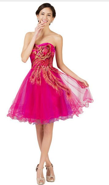 Grace Karin Short Prom Dress Peacock Cheap Beading Embroidery Tulle Party Gown Black Red Pink Blue Turquoise Prom Dresses 2017