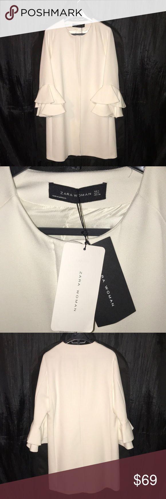 NWT ZARA Double Ruffle Bell Sleeve Coat NWT ZARA Double Ruffle Bell Sleeve Coat... Great Top Coat ... Wear it formal or casual!!! Includes Coat Bag Zara Jackets & Coats