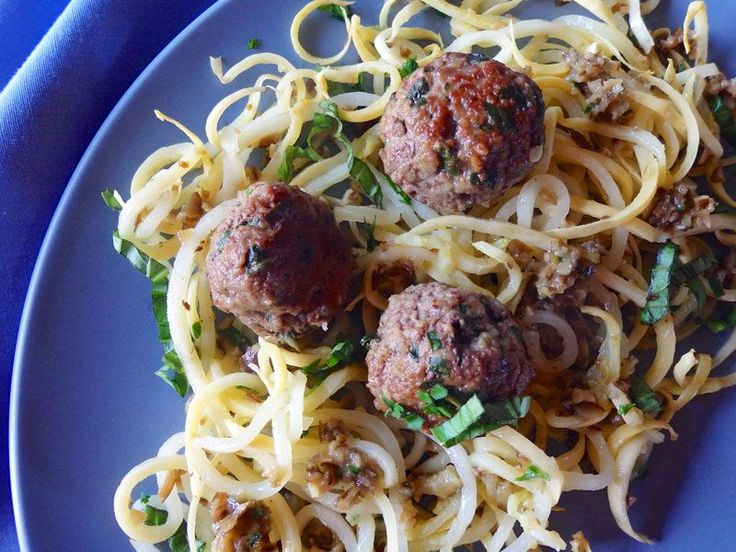 Yellow Squash Noodles with Meatballs and Olive Tapenade