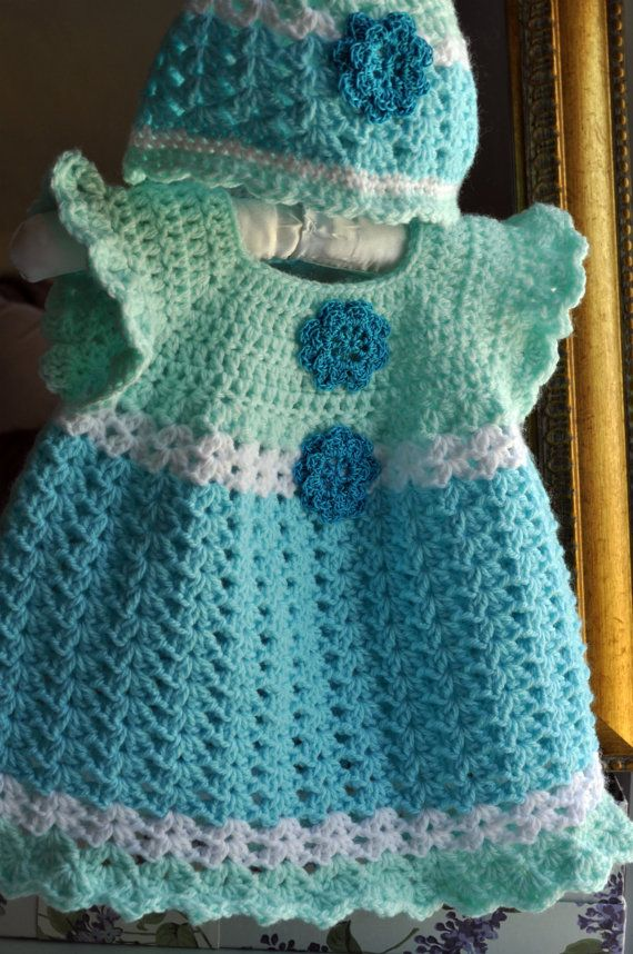 Crochet Aqua Blue Mint Green baby Dress with matching Hat sold as a set