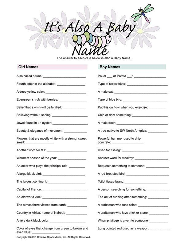 Baby shower game that would be a fun Life Skills activity when we study meanings of names  | followpics.co