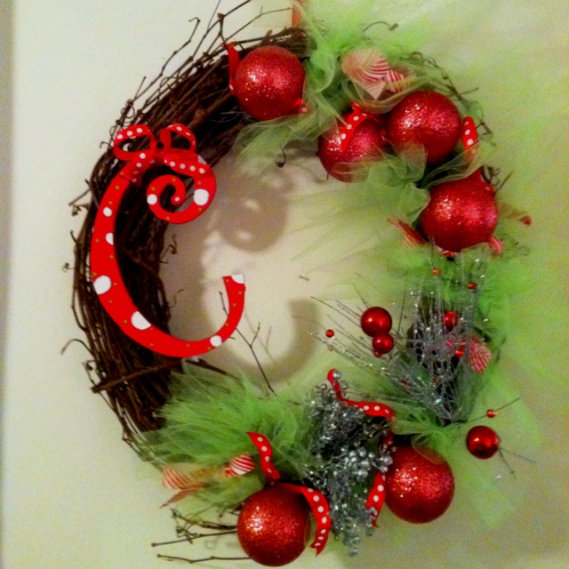 Crafty Christmas wreath! Was so easy to make and very inexpensive! All the materials are from Hobby Lobby!!