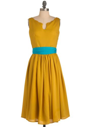 Effortless Allure Dress in Gold #modcloth: Effortless Allure, Colors Combos, Style, Yellow Dresses, Bridesmaid Dresses, Retro Vintage Dresses, Vintage Inspiration, Allure Dresses, Mustard Yellow