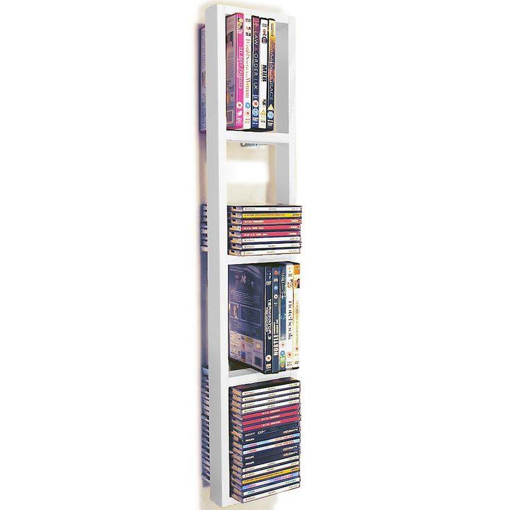 Iris - väggmonterad 76 Cd / 32 Dvd / Blu Ray Förvaringshylla - vit | Fruugo