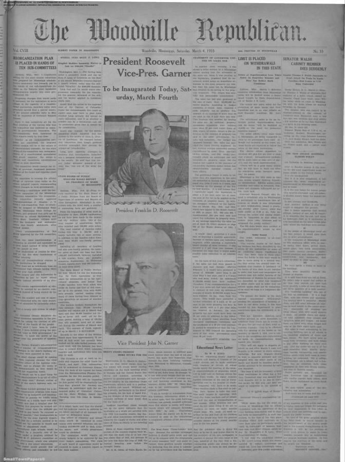 MARCH 1933 - FDR'S FIRST INAUGURAL COVERAGE  (HIS VICE-PRESIDENT WAS: JOHN NANCE GARNER 1933-1941).