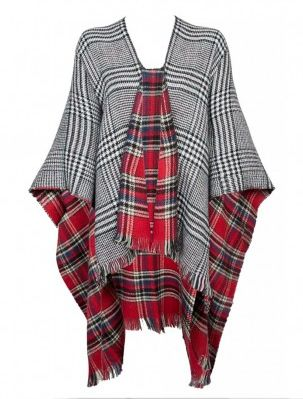 Reverse Check And Tartan Shawl £14.99
