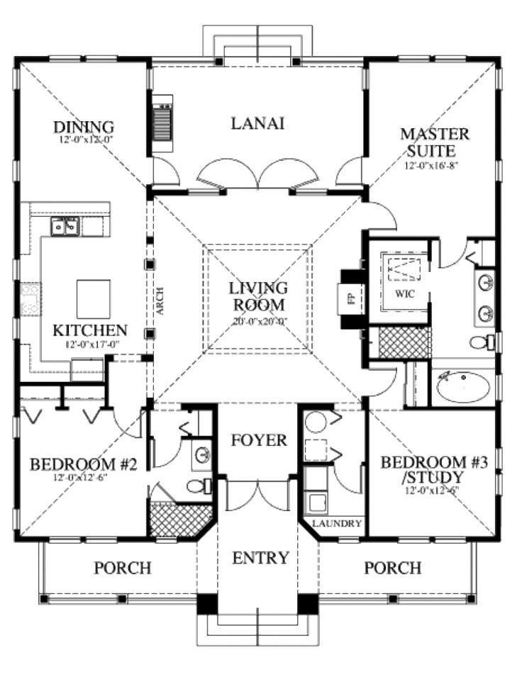Houseplans.com Beach Main Floor Plan Plan #426-6
