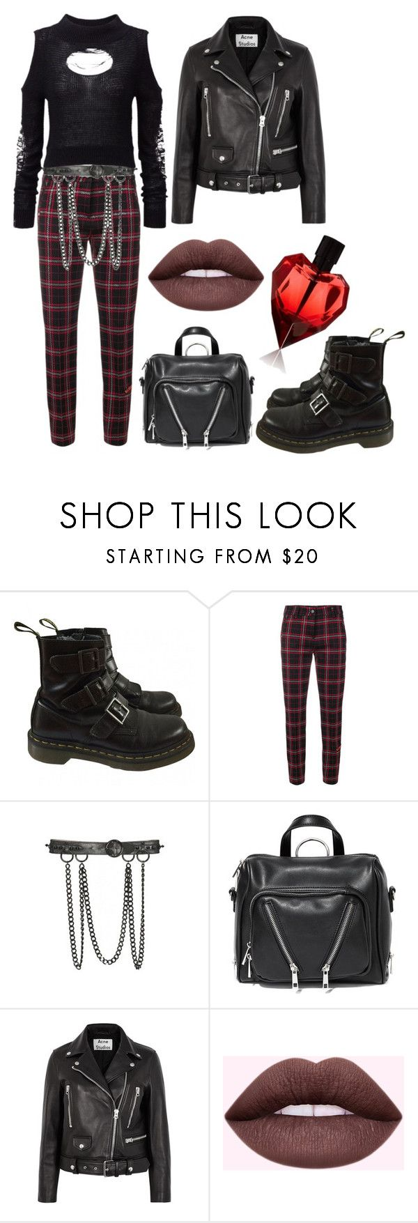 """""""Punk trend"""" by kiarametalhead ❤ liked on Polyvore featuring Dr. Martens, Cambio, Alexander McQueen, Current Mood and Acne Studios"""