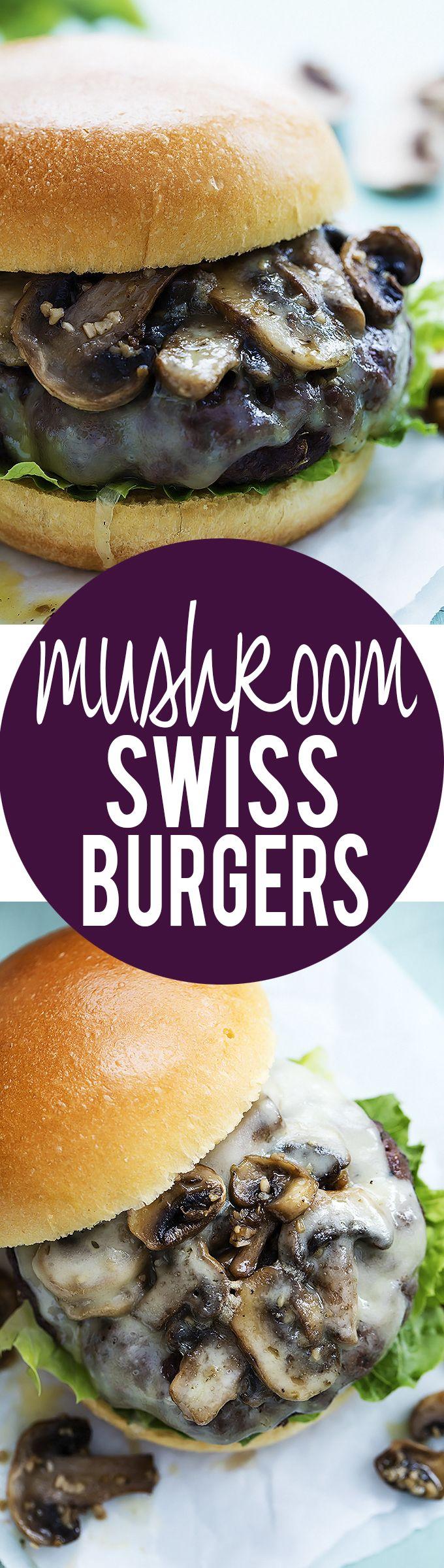 Cheesy Mushroom Swiss Burgers | Creme de la Crumb