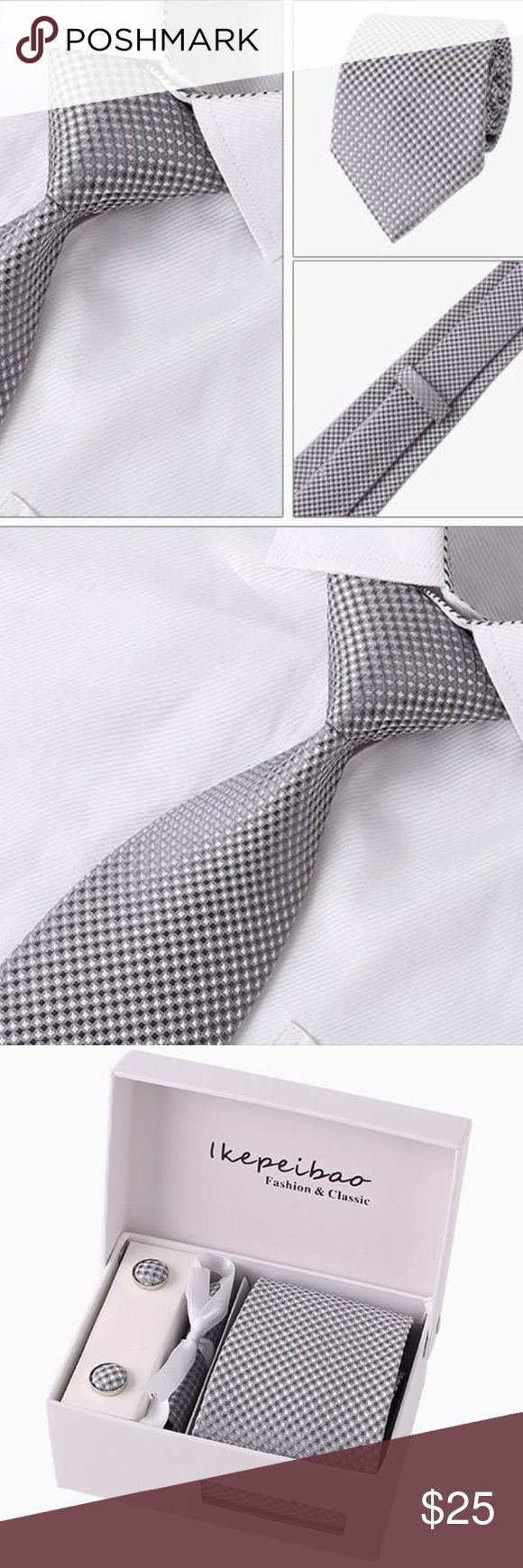 """Silver/Gray Checked Jacquard Woven 5-Piece Necktie High Quality Tie ~ Matching Handkerchief ~ Cufflinks ~ Tie Clip ~ Gift Boxed ~ Measures 57"""" Length and 3.3"""" Width ~ Smoke Free Home ~ Same Or Next Day Shipping ~ Boutique Accessories Ties"""