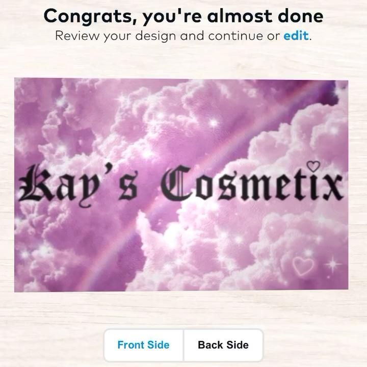 Kays cosmetix business cards video in 2020 cute