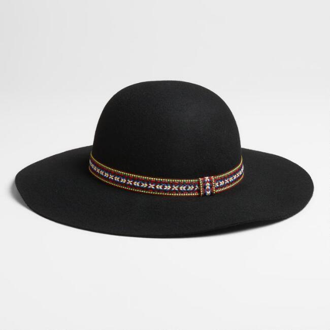 World Market Black Floppy Hat with Jacquard Band
