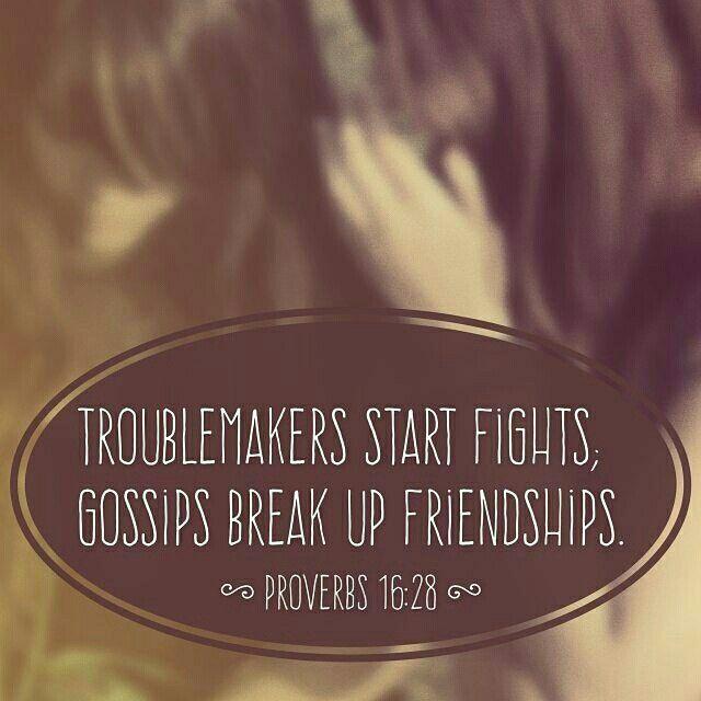 Troublemakers start fights... Gossips break up friendships 💔 {Proverbs 16:28} #Scripture #GodlyWisdom #BibleVerse #Proverbs #Truth #Amen #Troublemakers #Gossip #Hurtful