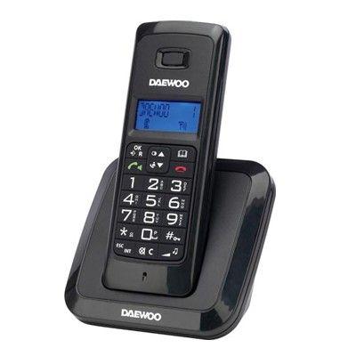 TELEFONO DAEWOO INALAMBRICO DTD-1200 NEGRO. Agenda con memoria para 50  números, manos libres y pantallla retroiluminada. Identificador de llamadas y memoria de 20 llamadas  entrantes, rellamada de los últimos 3 números, función mute, 9 tonos de melodía (5 son polifónicos). , alerta de batería y cobertura, 10h de autonomía en conservación y hasta 100h en espera. Alarma. . 10 idiomas. Alcance de señal 300 metros . Tecnología GAP. Dimensiones terminal:123x46x20 mm .Dimensión base: 85x60x65 mm.
