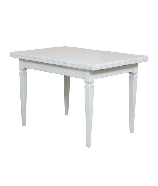 204-BI Arteferretto tavolo allungabile 120-200 cm. Classico tavolo bianco da cucina con possibilità di allungare il piano.