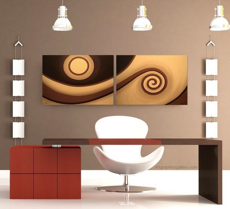 Modern Abstract Wall Art Chocolate Brown Caramel And