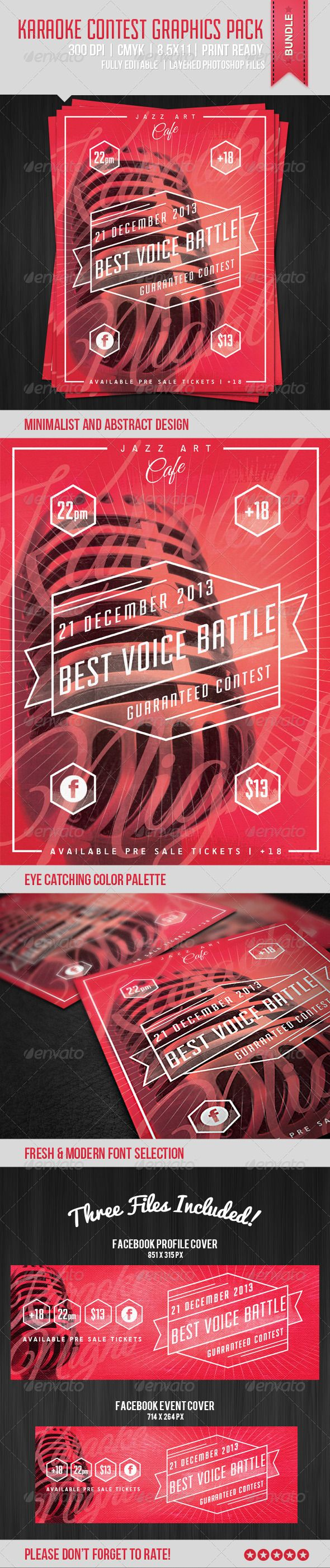 Karaoke Contest Poster — Photoshop PSD #microphone #music • Available here → https://graphicriver.net/item/karaoke-contest-poster/6012827?ref=pxcr