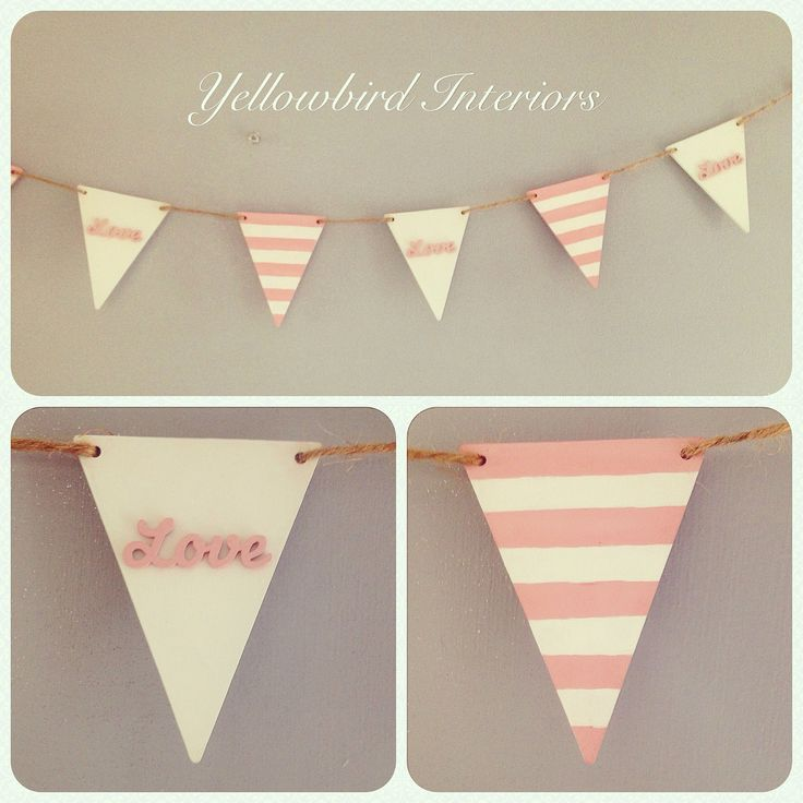 "Hand painted wooden bunting, pink & white stripe alternating with embellished ""love"" flags - £18 xx"
