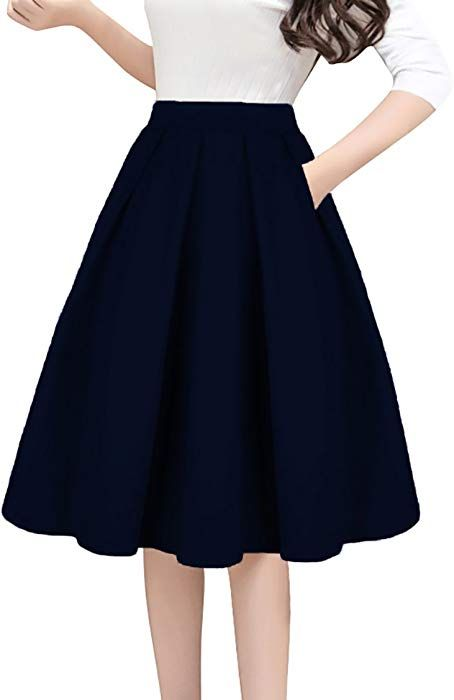 25eb27da30 Tandisk Women s High Waist Flared Skirt Pleated Midi Skirt with Pocket Navy  Blue L at Amazon Women s Clothing store