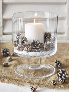 Dollar Store Christmas crafts Large Glass Candle Holder Small White Pillar Candle (Dollar Tree) Small Pinecones Fake Snow for Bottom of Candle Holder …