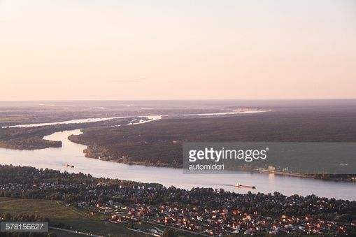 A window seat view over Ob River prior to landing on Novosibirsk.