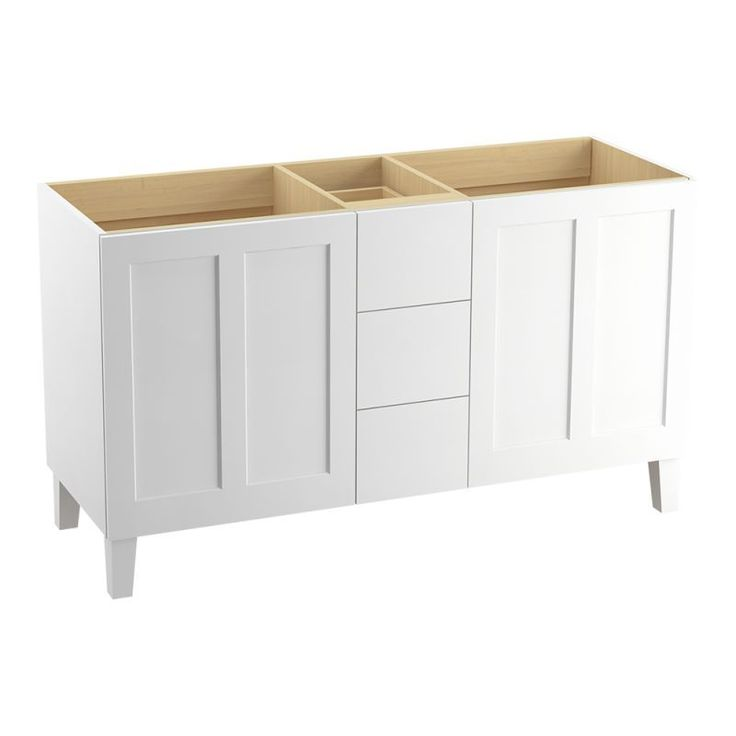 "Kohler K-99537-LGSD Poplin 60"" Vanity Cabinet Only with Split Top Drawers - Free Linen White Fixture Vanity Double"