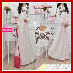 Baju Maxi Long Dress Warna Putih Natasha White Bordir S476