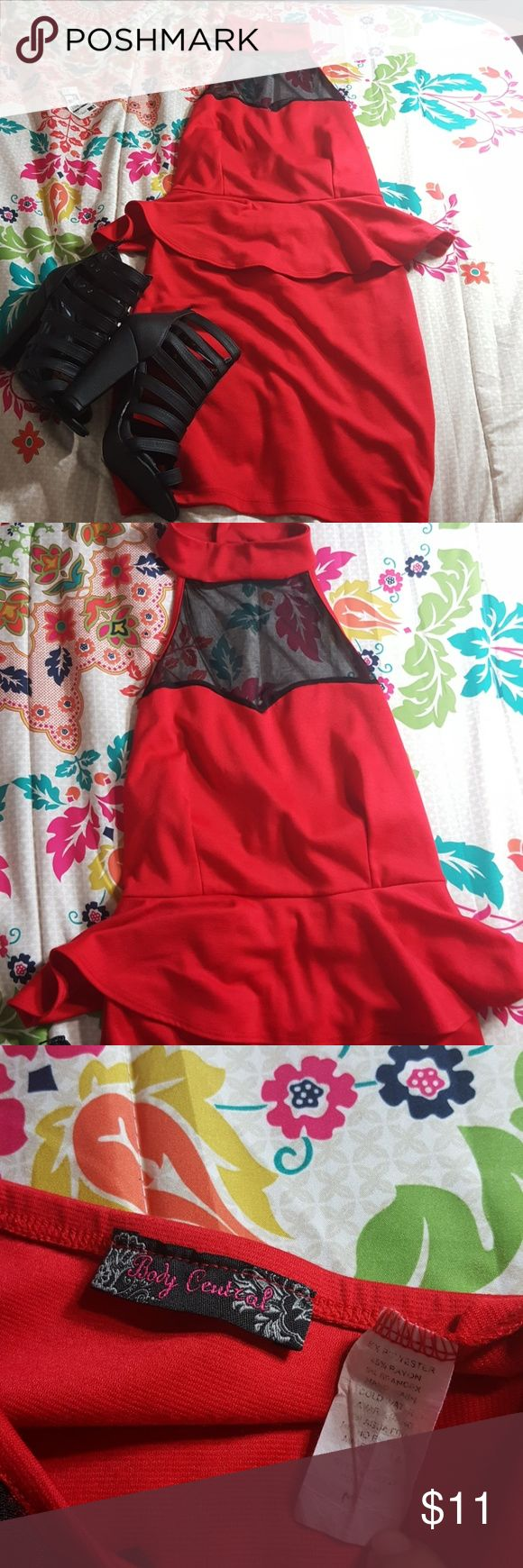 Body Central Dress Brand: Body Central Size: M Color: Red Style: Choker Mesh Peplum Dress  !*!* Black Strappy Pumps Not Included !*!*  Buyers can expect: Careful packaging, Fast shipping, & Delivery confirmation with each item purchased! PET FREE HOME & SMOKE-FREE HOME. Body Central Dresses Midi