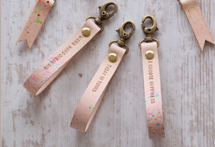 A personal favourite from my Etsy shop https://www.etsy.com/ie/listing/281670290/custom-quote-gift-quote-leather-keychain