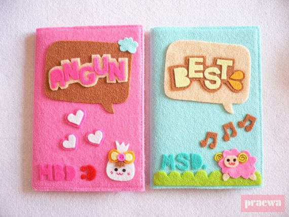 1 Personalized Felt Notebook  in greenread A6 paper with by praewa, $9.90