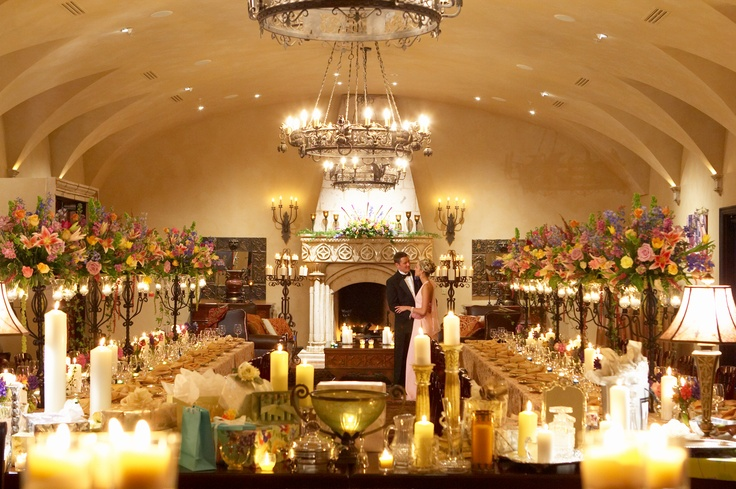 Indoor Ceremony Inspirations: Abundant Candles Provide Romantic Lighting For A Reception