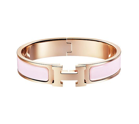 "Hermès Clic H Hermes narrow enamel bracelet Rose gold plated hardware, 2.5"" diameter, 6.7"" circumference, 0.5"" wide Color : sugar pink"